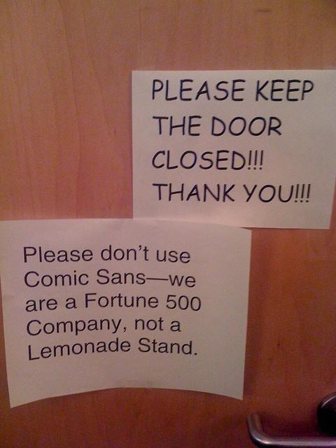Please don't use Comic Sans