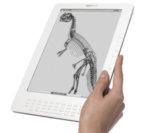 Kindle with image of dinosaur skeleton