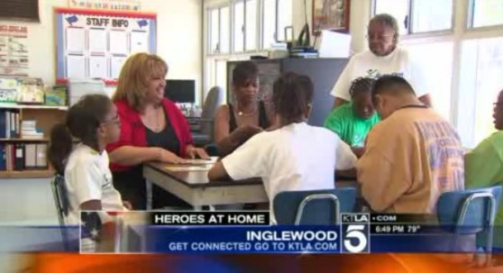 Monique Watts with group of developmentally disabled kids