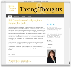 Taxing Thoughts landing page