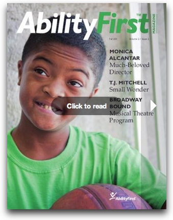 AbilityFirst Magazine cover with boy holding basketball