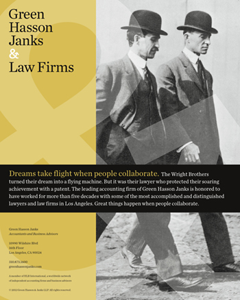 Green Hasson Janks ad featuring the Wright Brothers