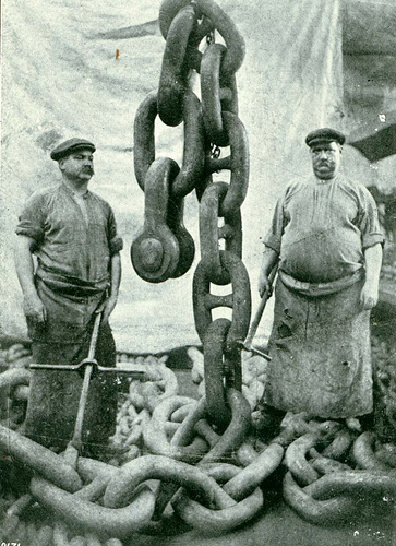 Giant anchor chain with two sailors