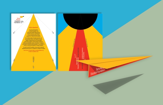 """The """"launch flyer"""" — a fold-it-yourself paper airplane — for the registration packets."""